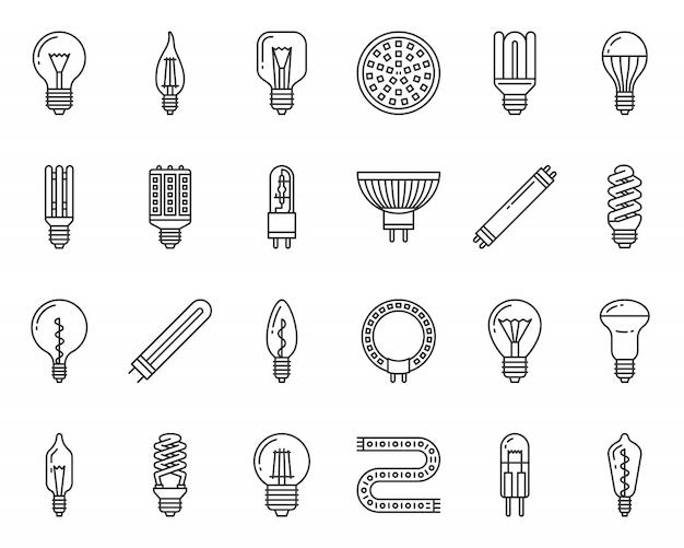 Ampoule verre lampe ligne noire icônes définies, halogène, ampoule fluorescente, électricité.