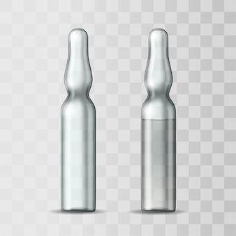 Ampoule en verre transparent vide et ampoule avec vaccin ou médicament pour traitement médical. maquette 3d réaliste d'ampoule avec médicament pour injection. modèle vierge de flacon.