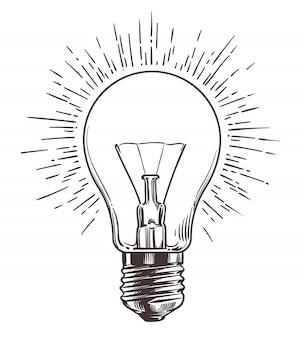 Ampoule vintage dans le style de gravure