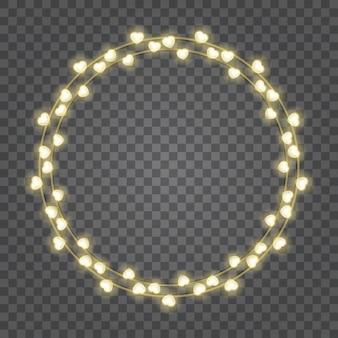 Ampoules coeurs brillants isolés sur la transparence
