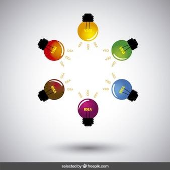 Ampoules colorées en forme d'étoile