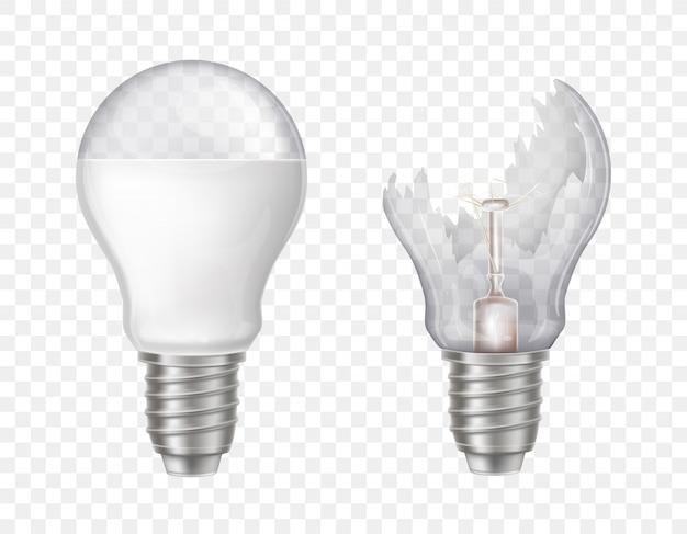 Ampoules électriques 3d réalistes. verre brisé