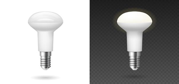 Ampoules fluorescentes rougeoyantes, style réaliste. utilisation responsable de l'énergie et concept écologique. lampes 3d isolées sur fond transparent. illustration vectorielle.