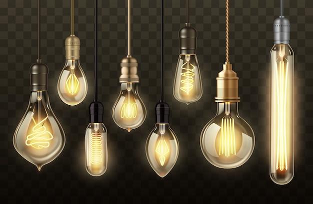 Ampoules sur fond transparent réalistes.