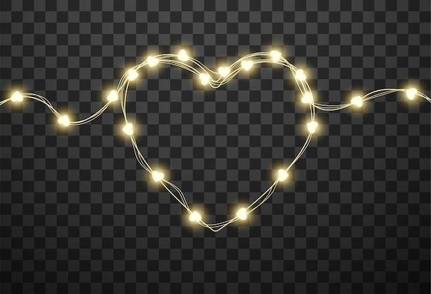 Ampoules en forme de coeur sur des guirlandes