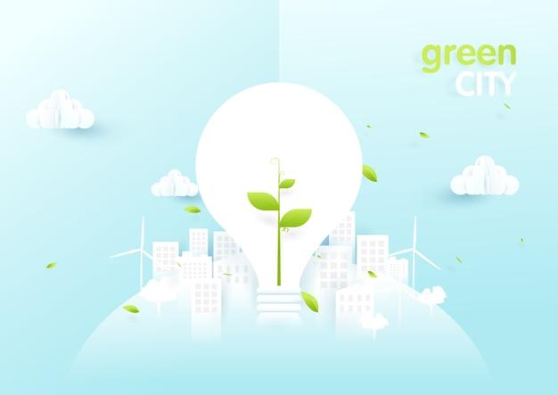 Ampoules Avec Jeune Arbre Dans La Ville De L'écologie Verte Vecteur Premium