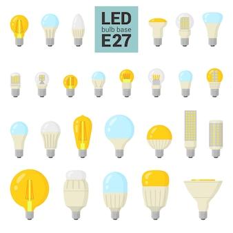 Ampoules led avec base e27, icône colorée sur fond blanc