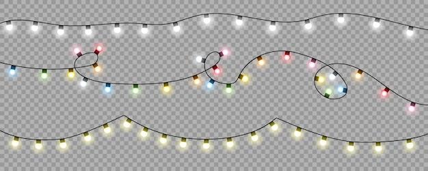 Ampoules de lumières de noël sur fond transparent