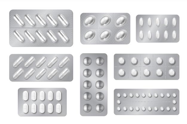 Ampoules réalistes. pilule de médecine et packs de capsules, médicaments 3d blancs et vitamines isolés