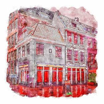 Amsterdam pays-bas aquarelle croquis dessinés à la main illustration
