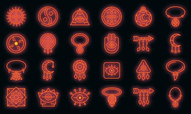 Amulette icons set vector néon
