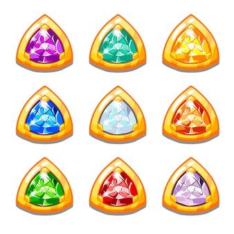Amulettes d'or colorées de vecteur avec diamants