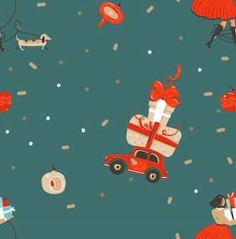 Amusant abstrait vectoriel dessinés à la main joyeux noël et bonne année temps dessin animé rustique modèle sans couture festif avec des illustrations mignonnes de personnes de noël et des coffrets cadeaux isolés sur fond vert.