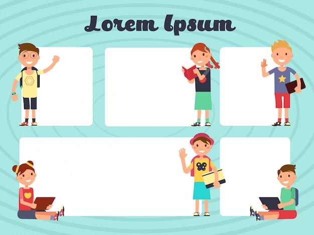 Amusant cadres enfants mise en page. arrière-plans de brochure de textos de vecteur avec enfants dessinés