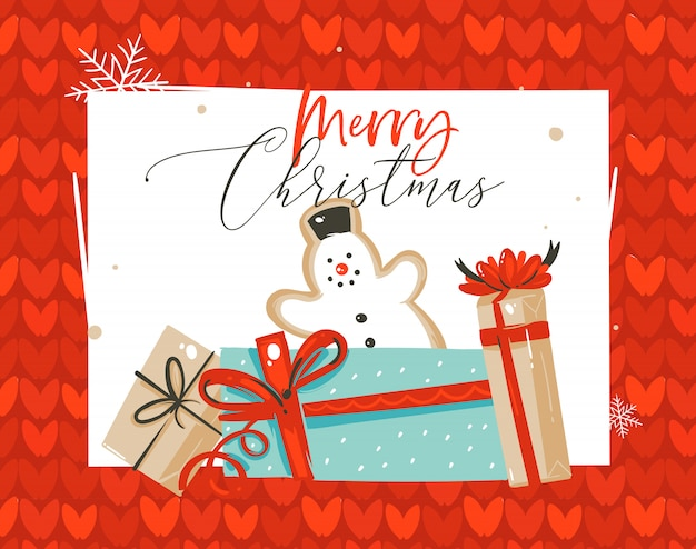 Amusement abstrait dessiné à la main carte de voeux d'illustration de dessin animé de temps joyeux noël avec biscuit de pain d'épice de bonhomme de neige et coffrets cadeaux surprise sur fond tricoté rouge.
