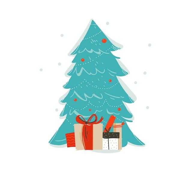 Amusement abstrait dessiné à la main icône d'illustration de dessin animé de temps joyeux noël avec arbre de noël décoré et coffrets cadeaux surprise isolés sur fond blanc.