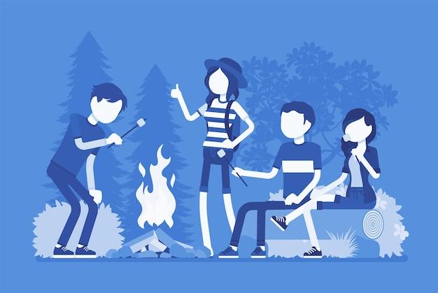 Amusement extérieur de feu de camp dans un design plat