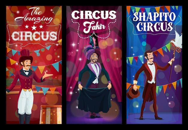 Amuseur de cirque shapito et personnages de magicien