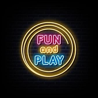 Amusez-vous et jouez à la bannière lumineuse de l'élément de conception d'enseigne au néon