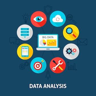 Analyse de la base de données conceptuelle. illustration vectorielle du cercle d'infographie big data avec des icônes plates.