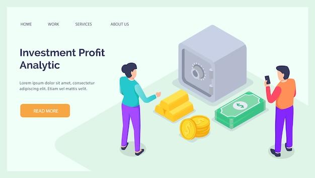 Analyse des bénéfices d'investissement avec un dépôt de tirelire pour l'atterrissage du site web bannière modèle de page d'accueil isométrique