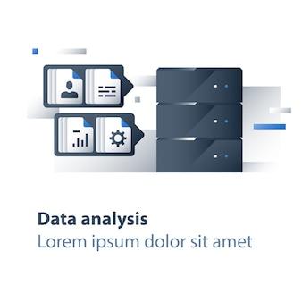Analyse de big data, collecte et traitement d'informations, graphique de rapport, serveur de données
