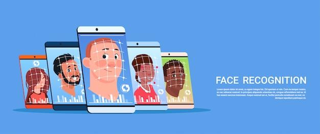 Analyse biométrique du concept de système de reconnaissance des visages des utilisateurs technologie de contrôle d'accès par téléphone intelligent moderne