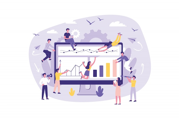 Analyse de concept d'entreprise, kpi. l'écran du moniteur est un chantier. les commis au travail d'équipe font un projet sur internet. exécution collective des tâches