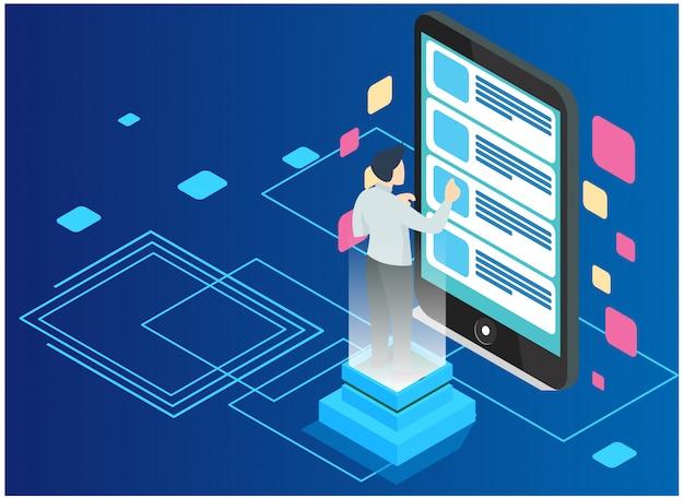 Analyse de données et concept de statistiques. analyse commerciale, visualisation de données. concept de technologie, internet et réseau. données et investissements