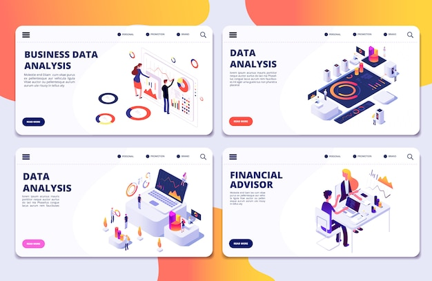 Analyse des données, conseiller financier, modèle de pages de destination pour l'analyse des données commerciales