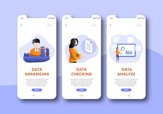Analyse des données sur l'écran de l'écran mobile ui