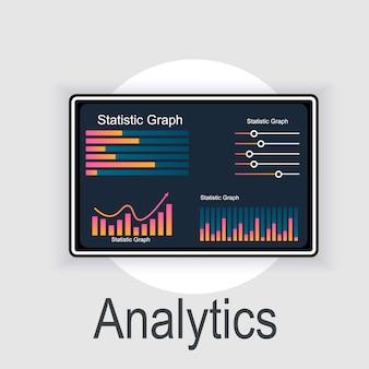 Analyse des données et informations commerciales avec concept «analytique» de gestion et de marketing. illustration de la recherche pour le marketing.
