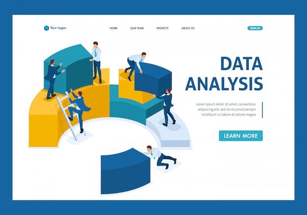 Analyse de données isométrique, collecte de données pour l'analyse, travail des employés page de destination