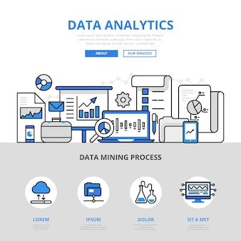 Analyse de données rapport style de ligne plate concept de processus minier. matériau imprimé