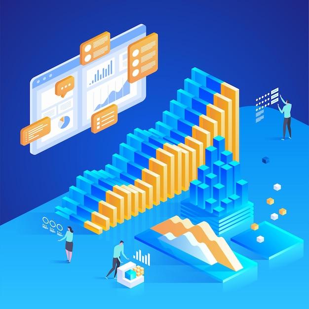 L'analyse des données. statistiques en ligne. illustration isométrique pour la page de destination, la conception web, la bannière et la présentation.