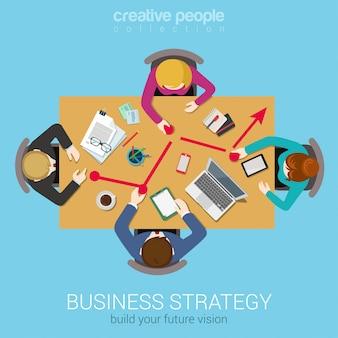 Analyse des données de la stratégie d'entreprise de l'équipe de stratégie d'entreprise de remue-méninges concept plat personnes à la table des points de déplacement vers le graphique en courbes