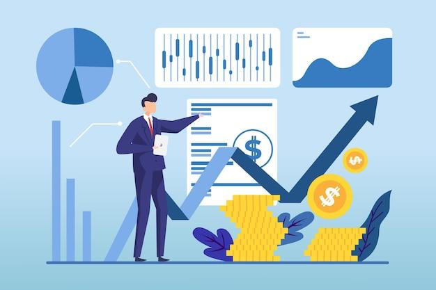 Analyse du marché boursier design plat