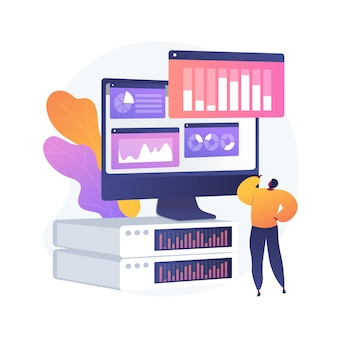 Analyse du tableau de bord. évaluation des performances informatiques. graphique à l'écran, analyse des statistiques, évaluation infographique. rapport d'activité sur écran. illustration de métaphore de concept isolé de vecteur.