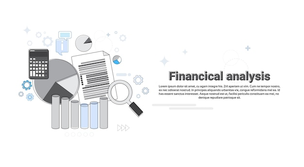 Analyse financière business web banner vector illustration