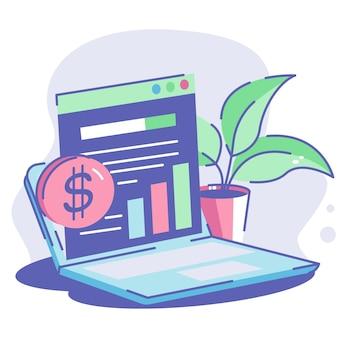 Analyse marketing avec statistique sur ordinateur portable et plante sur table