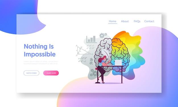 Analyse, modèle de page de destination de créativité.