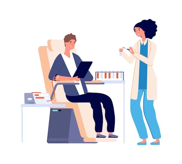 Analyse de sang. contrôle médical gars. don de sang, volontaire plat ou donneur. infirmière mignonne et homme dans l'illustration vectorielle de l'hôpital. don de sang de médecine, test et charité
