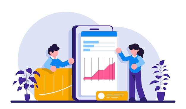 Analyse seo à l'aide d'une illustration de téléphone mobile