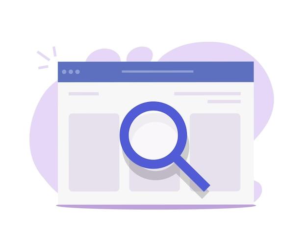 Analyse web seo ou inspection de page internet via l'icône de dessin animé plat en verre loupe