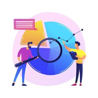 Analyses statistiques. personnage de dessin animé homme avec loupe analysant les données. diagramme circulaire avec segments colorés. statistiques, audit, recherche.