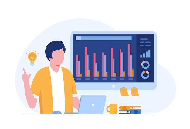 Analyste d'affaires avec tableau de bord, audit de performance, concept comptable, vecteur d'illustration plat