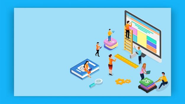 Analyste ou développeur entretient un site web avec une bannière de langages de programmation différents