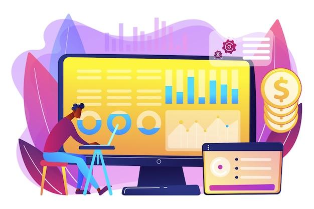 Analyste de données consolidant les informations financières et les rapports sur ordinateur. gestion des données financières, logiciel financier, concept de rapport de données numériques. illustration isolée violette vibrante lumineuse