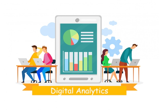 Analyste numérique coworking vector illustration