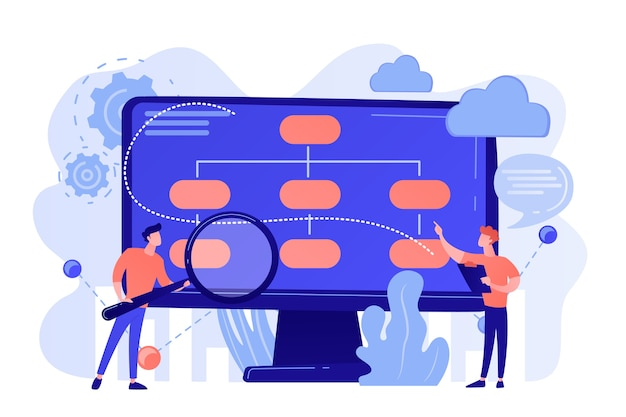 Analyste de personnes minuscules et scientifique de données travaillant avec des données. modèle d'entreprise axé sur les données, stratégies de données complètes, nouveau concept de modèle économique